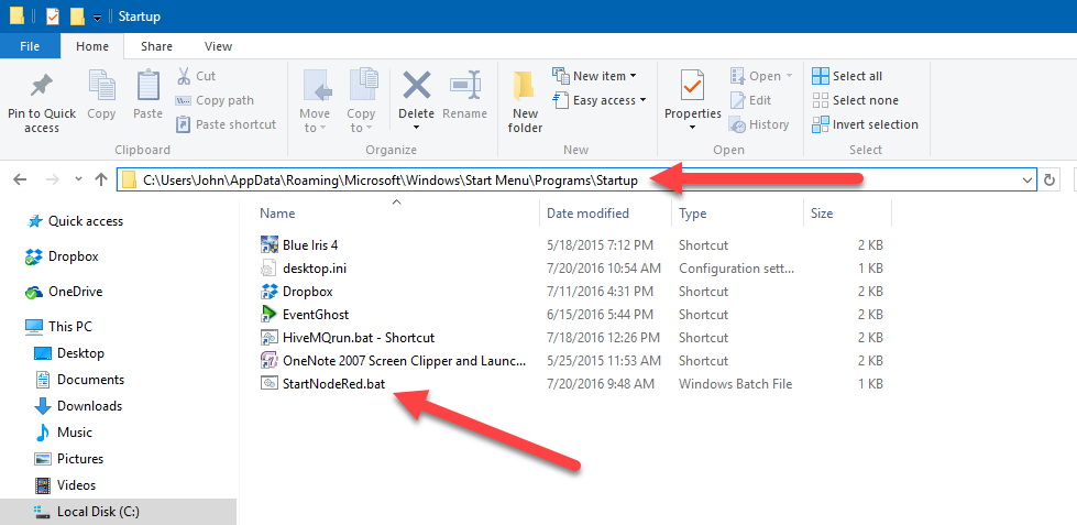 how to start bat file on windows startup